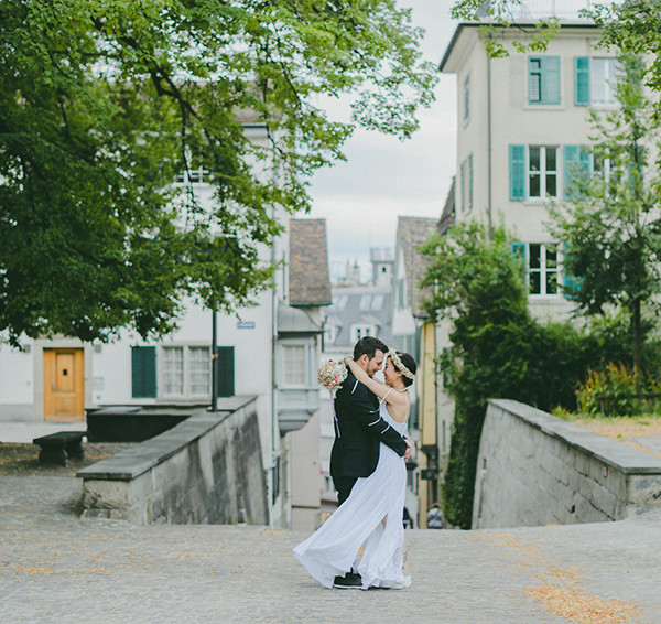 Bohemian Zurich City Hall Wedding